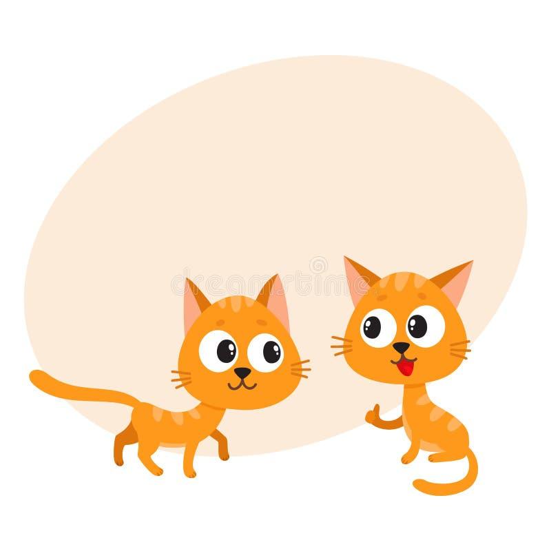 Dois bonitos, caráteres vermelhos engraçados, impertinentes, brincalhão do gato que jogam junto ilustração do vetor