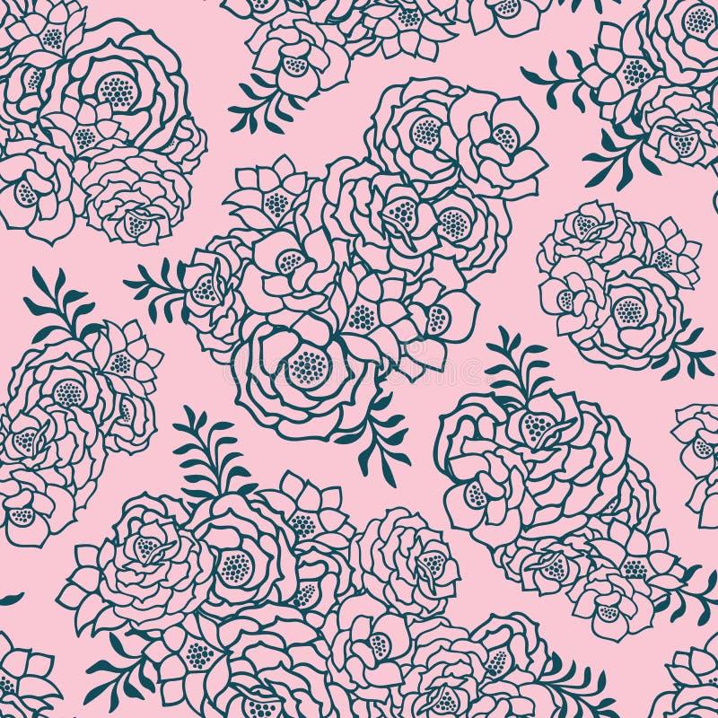 Dois bonitos coloriram o rosa e o teste padrão sem emenda verde com rosas, folhas Linhas de contorno tiradas mão ilustração do vetor