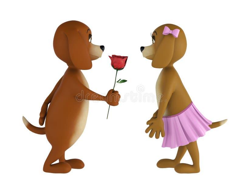 Dois cães do Valentim do amante isolados no fundo branco 3d rendem ilustração stock