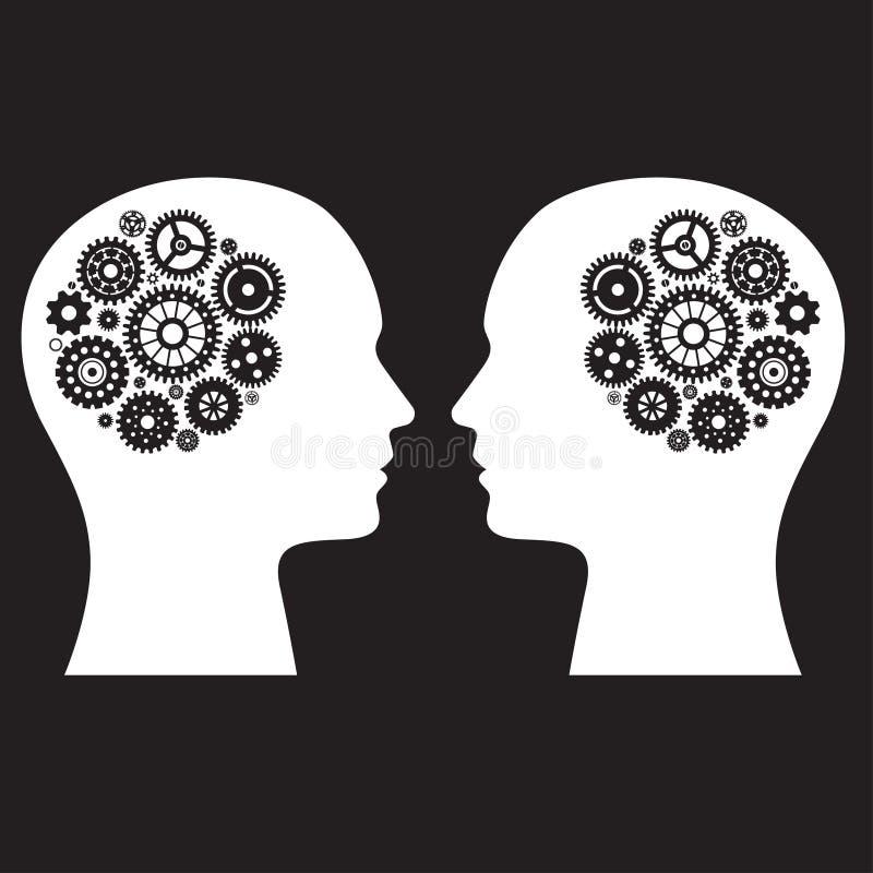 Dois cérebros humanos com coleção da roda ilustração royalty free