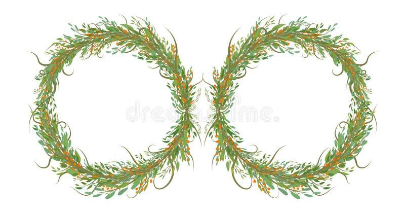 Dois círculos das flores com folhas ilustração stock