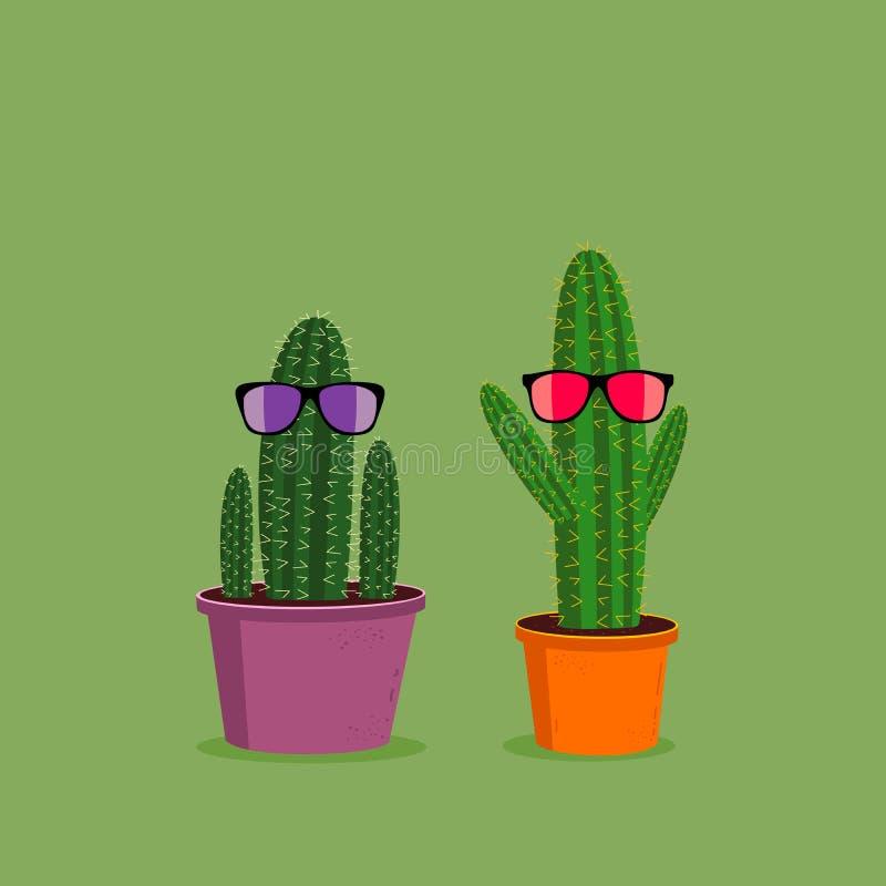 Dois cactos engraçados dos desenhos animados que vestem óculos de sol no fundo verde Ilustração bonito do caráter ilustração do vetor
