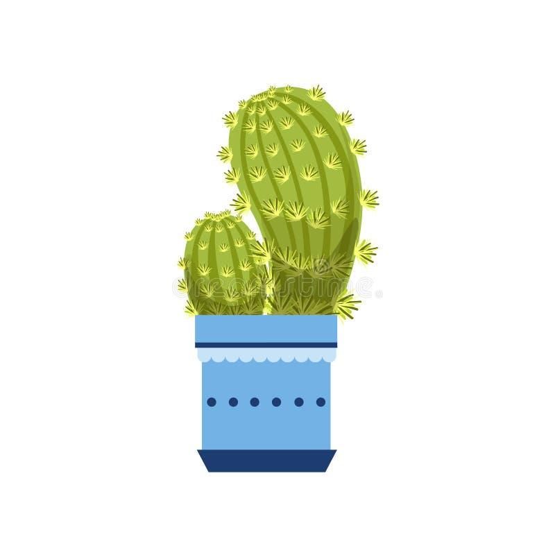 Dois cactos no potenciômetro azul ilustração stock