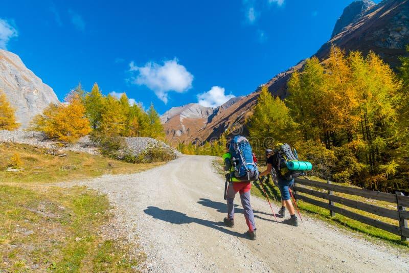 Dois caminhantes com trouxas em uma estrada a Grossglockner no outono, Tirol, Áustria imagem de stock