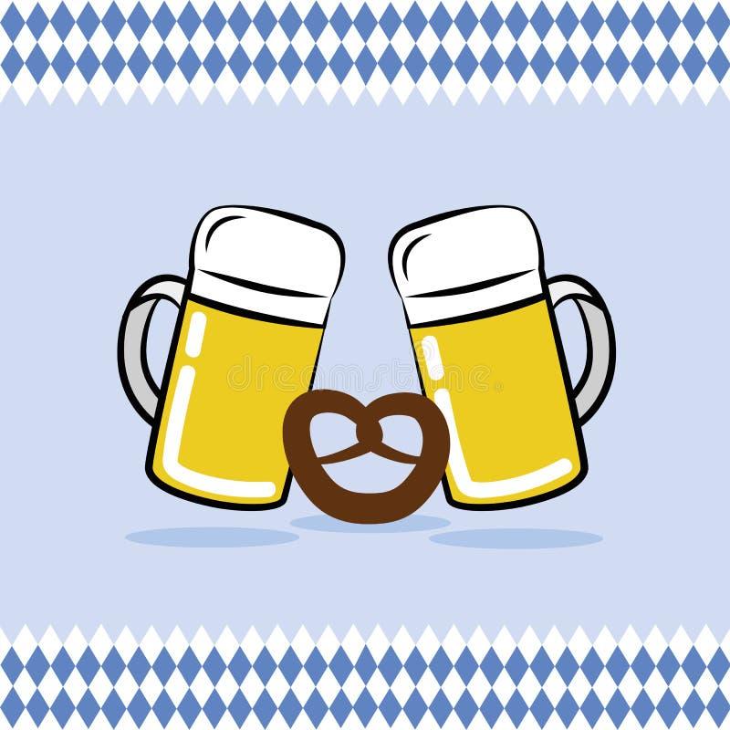 Dois canecas e pretzeis de cerveja com bavaria embandeiram o fundo ilustração do vetor