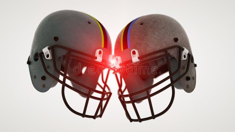 Dois capacetes de futebol foto de stock