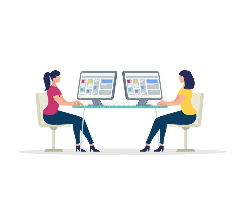 Dois caráteres das jovens mulheres que trabalham em computadores ilustração do vetor