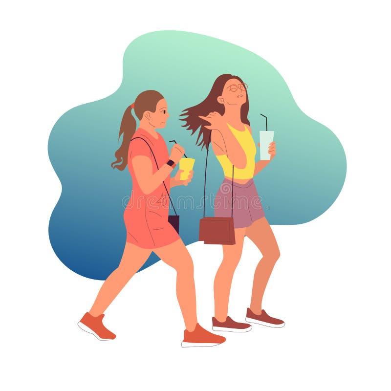 Dois caráteres das moças no equipamento ocasional que andam com copo de café à disposição no fundo azul ilustração royalty free