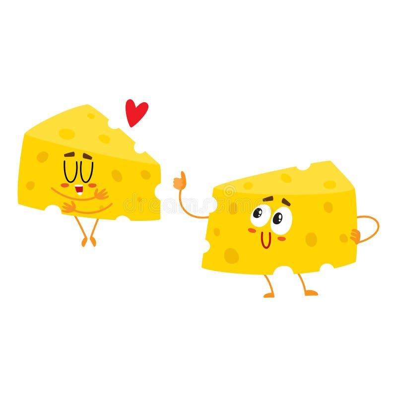 Dois caráteres engraçados do pedaço do queijo, conceito da boa qualidade, mostrando o amor ilustração royalty free