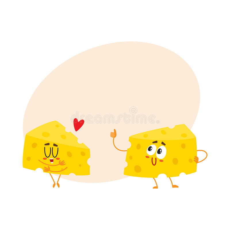 Dois caráteres engraçados do pedaço do queijo, conceito da boa qualidade, mostrando o amor ilustração stock