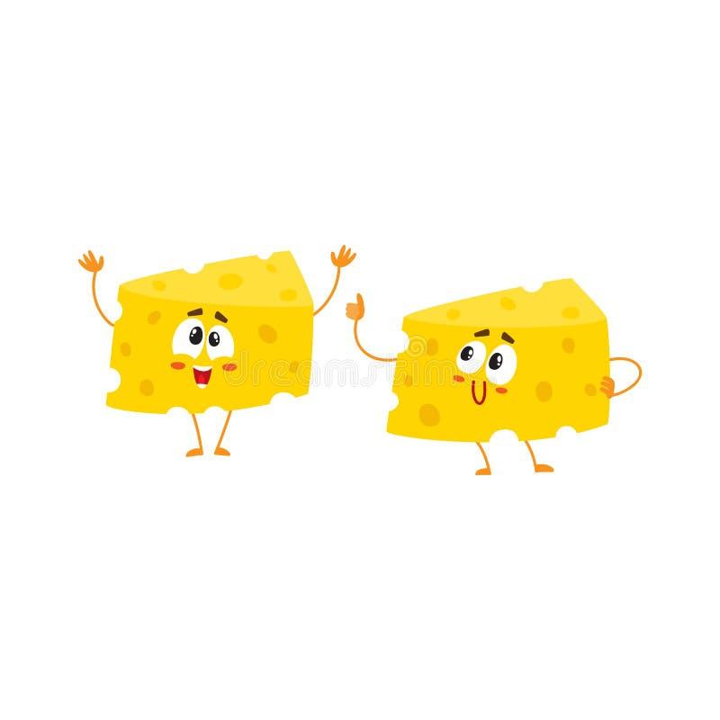 Dois caráteres engraçados do pedaço do queijo, mostrando o polegar acima e cumprimentando ilustração stock