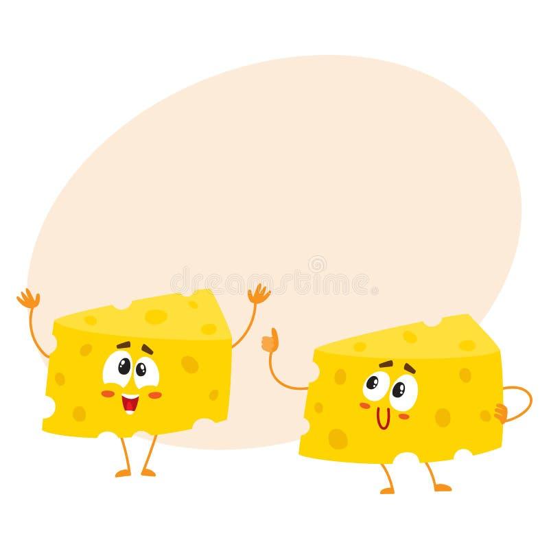 Dois caráteres engraçados do pedaço do queijo, mostrando o polegar acima e cumprimentando ilustração do vetor