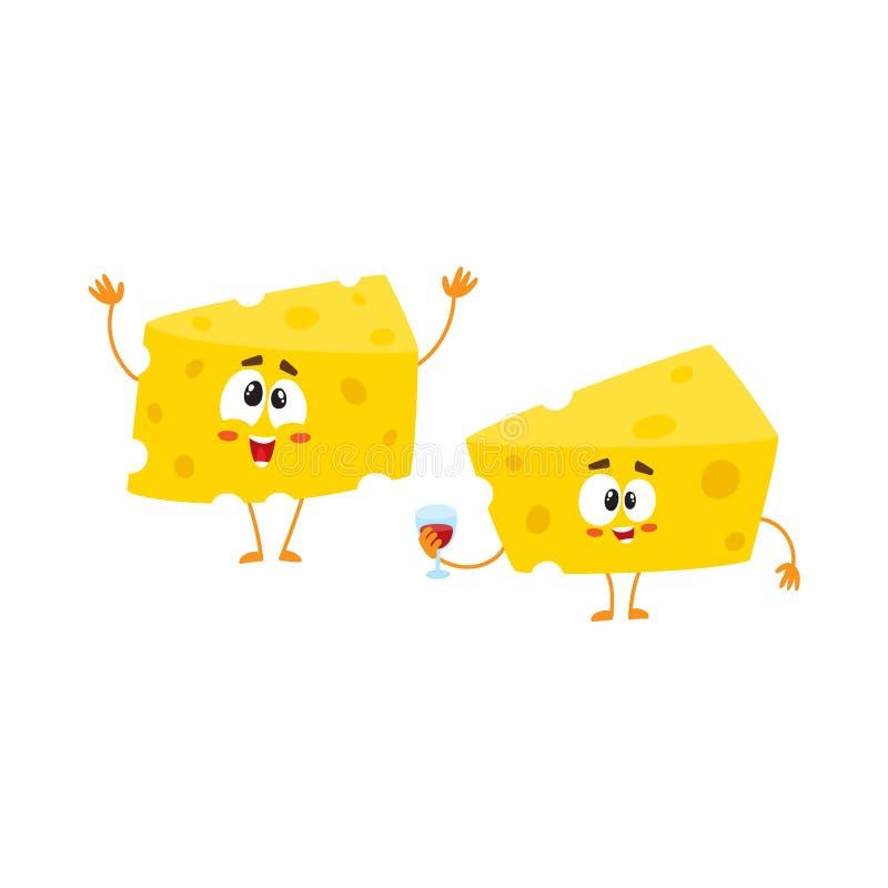 Dois caráteres engraçados do pedaço do queijo que guardam o vidro de vinho, conceito da celebração ilustração stock