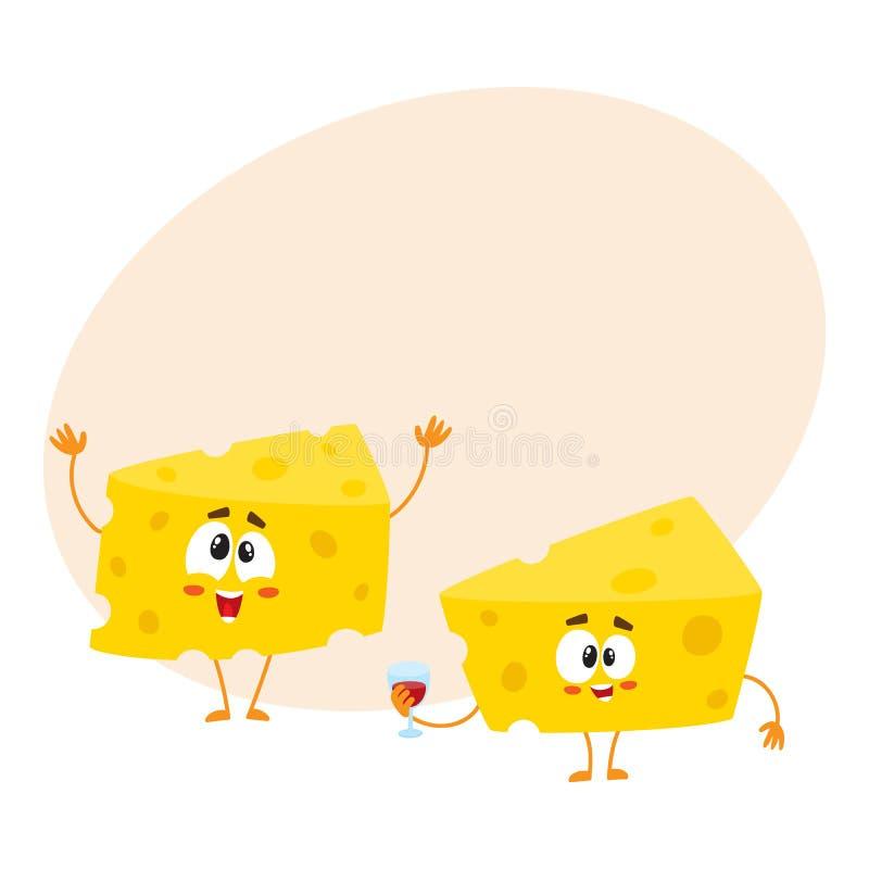 Dois caráteres engraçados do pedaço do queijo que guardam o vidro de vinho, conceito da celebração ilustração royalty free