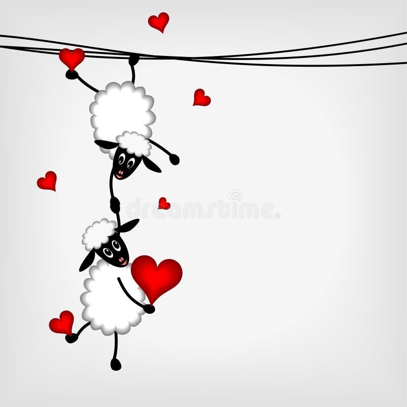 Dois carneiros com corações vermelhos ilustração royalty free