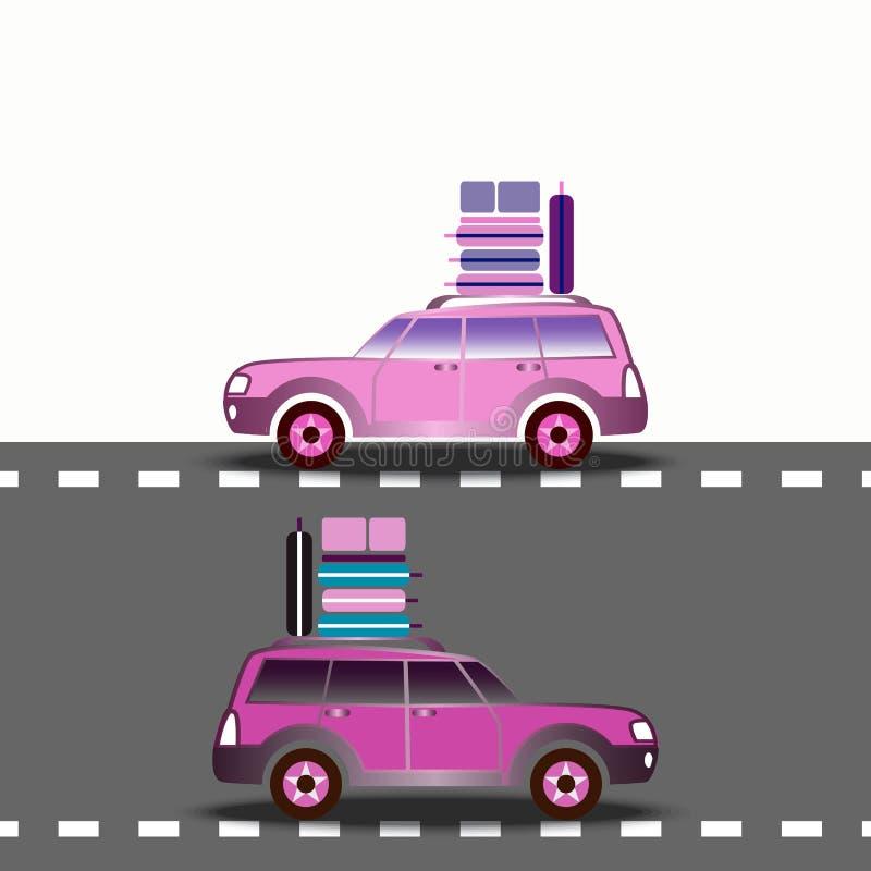 Dois carros com as malas de viagem que conduzem na estrada ilustração do vetor