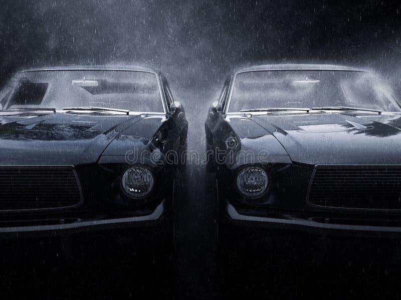 Dois carros pretos impressionantes do músculo do vintage de lado a lado ilustração do vetor