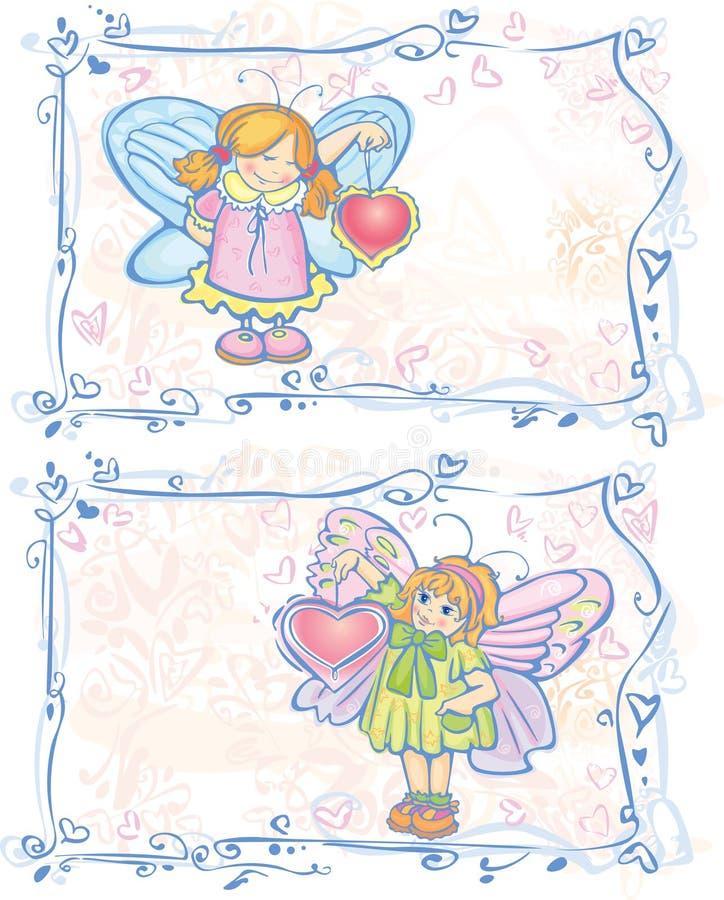 Dois cartões de anjos bonitos. ilustração stock
