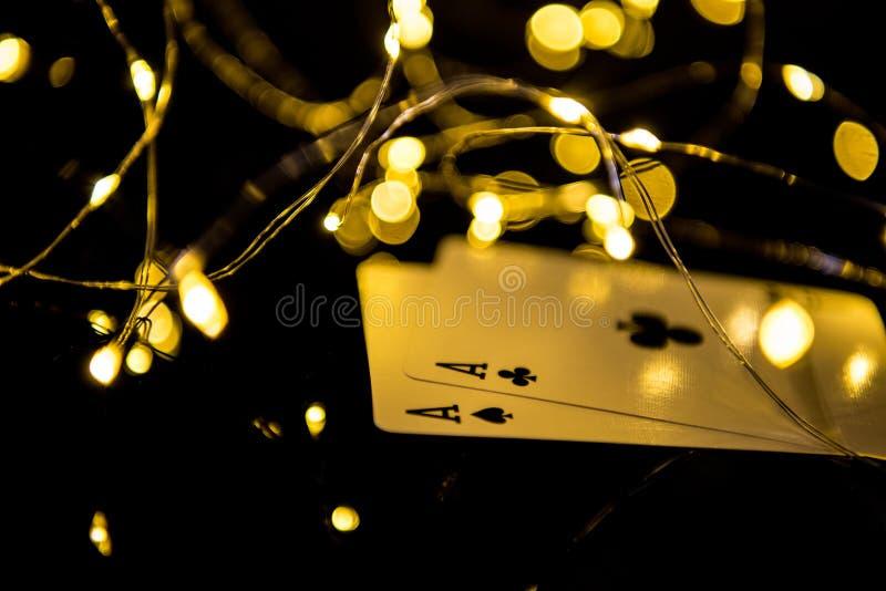 Dois cart?es pretos dos ?s em luzes de Natal do borr?o imagem de stock