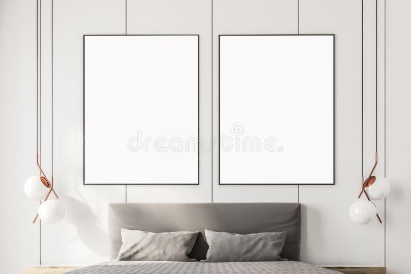 Dois cartazes ascendentes trocistas acima de uma cama enorme ilustração do vetor