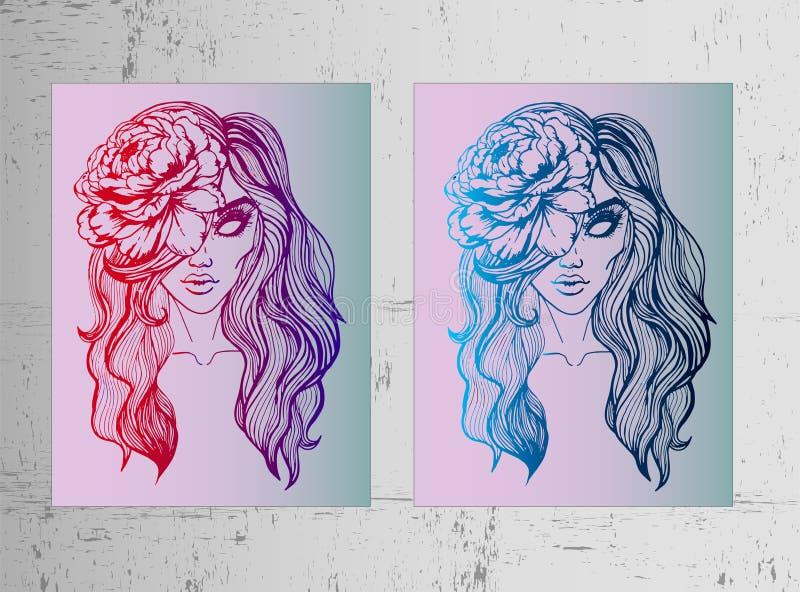 Dois cartazes - uma menina com um pion em seu cabelo Esboços bonitos e brilhantes do inclinação, ideias para tatuagens e imagens  ilustração do vetor