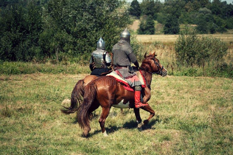 Dois cavaleiros blindados medievais em cavalos da fantasia Os soldados equestres em trajes históricos estão no campo do verão imagem de stock royalty free