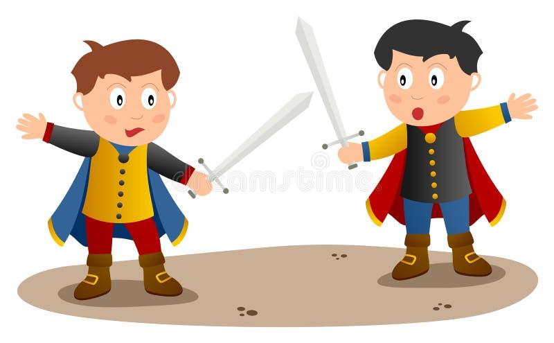 Dois cavaleiros com espada ilustração do vetor