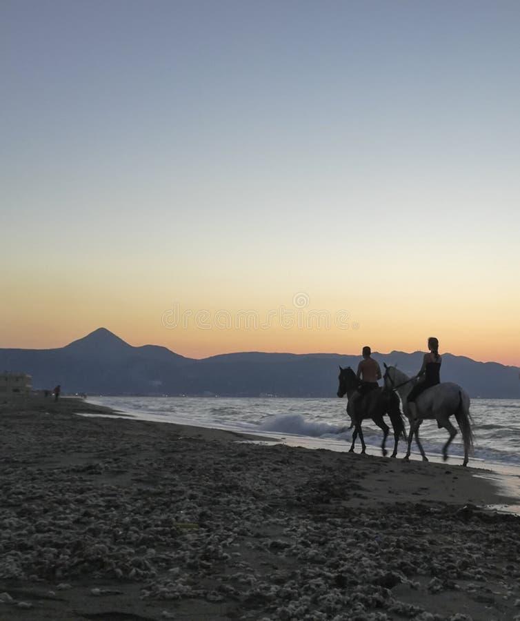 Dois cavaleiros do cavalo na praia no crepúsculo imagens de stock royalty free