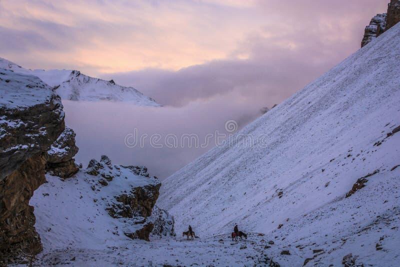 Dois cavaleiros em um La de Thorung da montanha, Nepal imagem de stock royalty free