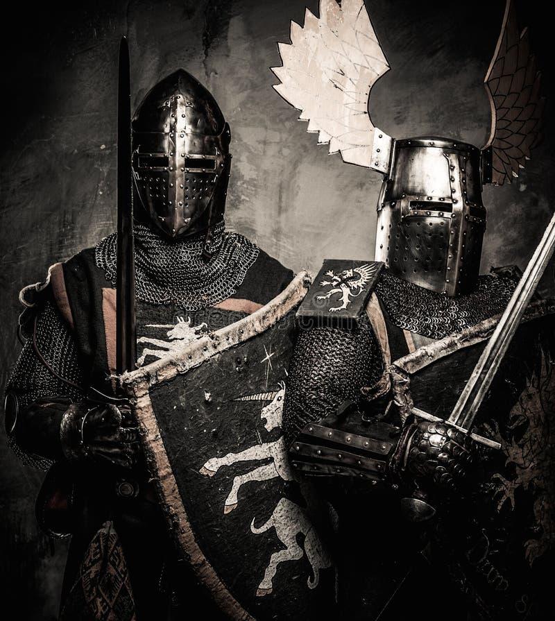 Dois cavaleiros medievais imagens de stock royalty free