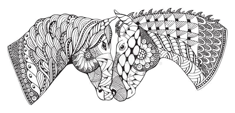 Dois cavalos que mostram a afeição, zentangle estilizaram, vetor ilustração stock