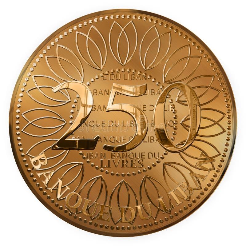 Dois cem cinqüênta libras de moeda douradas isoladas de Líbano ilustração do vetor