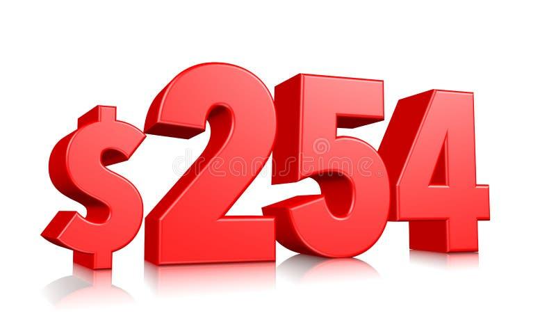 254$ dois cem e cinquenta e quatro símbolos do preço número vermelho 3d do texto para render com sinal de dólar no fundo branco ilustração do vetor