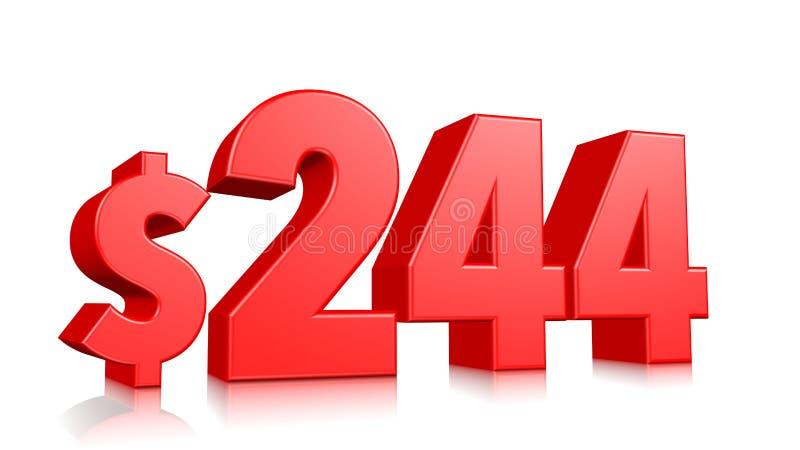 244$ dois cem e quarenta e quatro símbolos do preço número vermelho 3d do texto para render com sinal de dólar no fundo branco ilustração royalty free