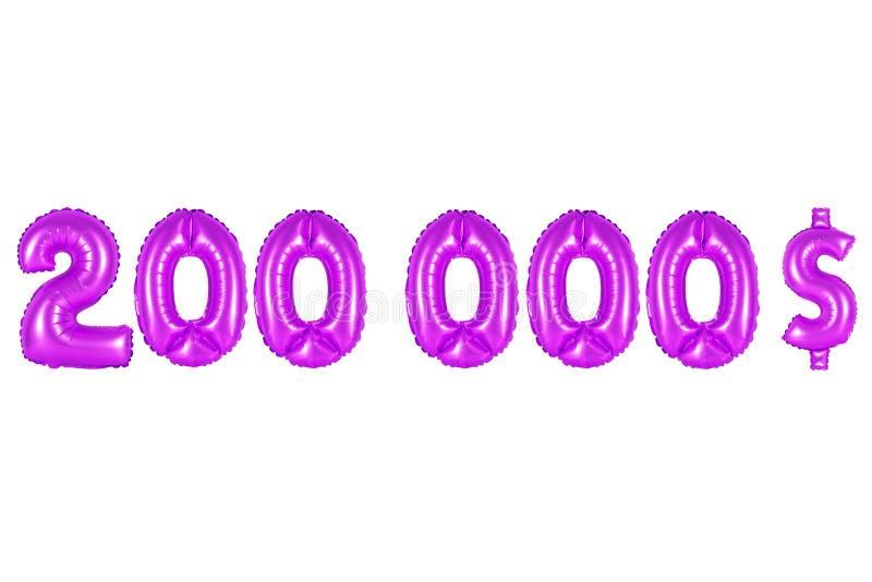 Dois cem mil dólares, cor roxa foto de stock royalty free