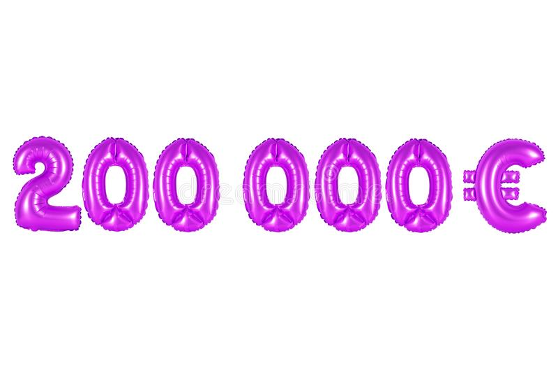 Dois cem mil euro, cor roxa foto de stock royalty free