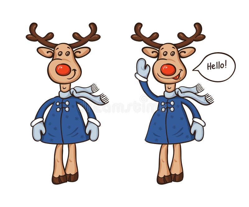 Dois cervos em um revestimento e em uns desenhos animados do lenço isolados no fundo branco ilustração do vetor