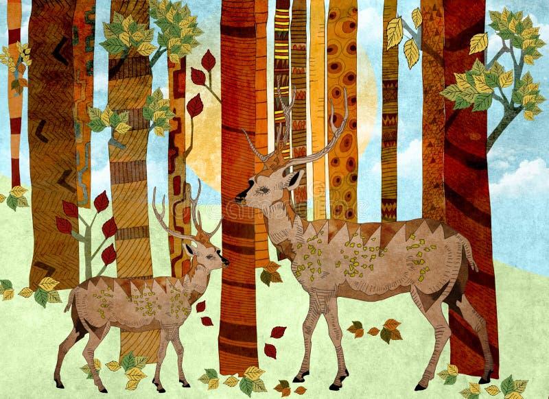 Dois cervos nas madeiras ilustração royalty free