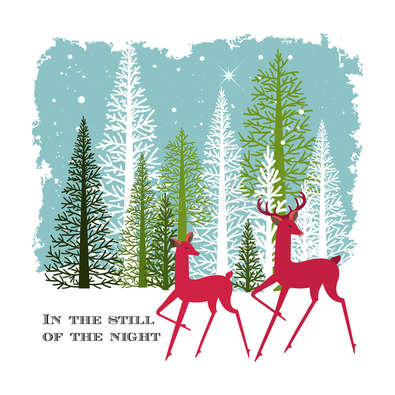 Dois cervos nas madeiras em uma noite do inverno ilustração stock