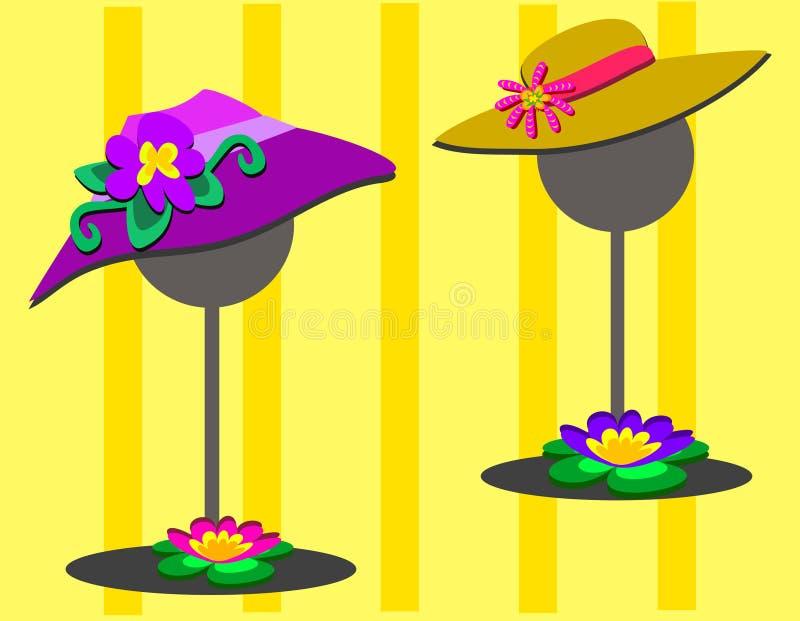 Dois chapéus em carrinhos ilustração stock
