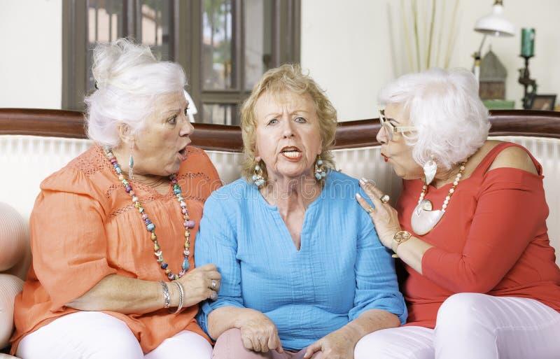 Dois chocaram senhoras superiores e seu amigo irritado imagens de stock royalty free