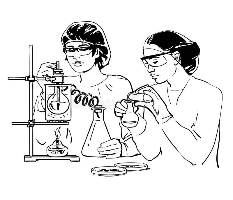 Dois cientistas fêmeas com tubos de ensaio ilustração royalty free