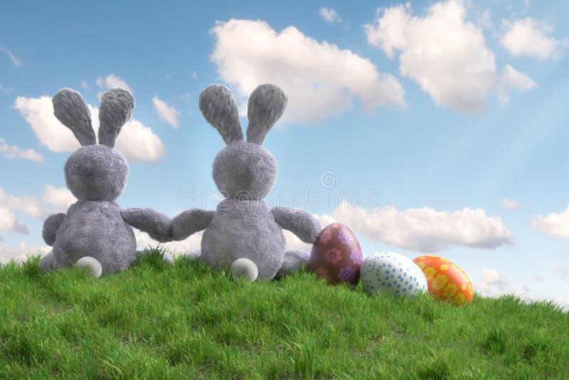 Dois coelhinhos da Páscoa que sentam-se na grama com ovos da páscoa ilustração do vetor