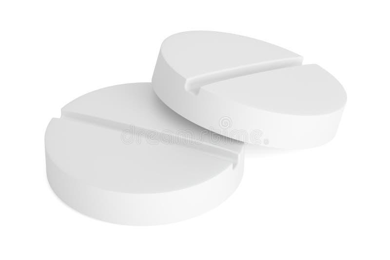 Dois comprimidos brancos, rendição 3D ilustração stock