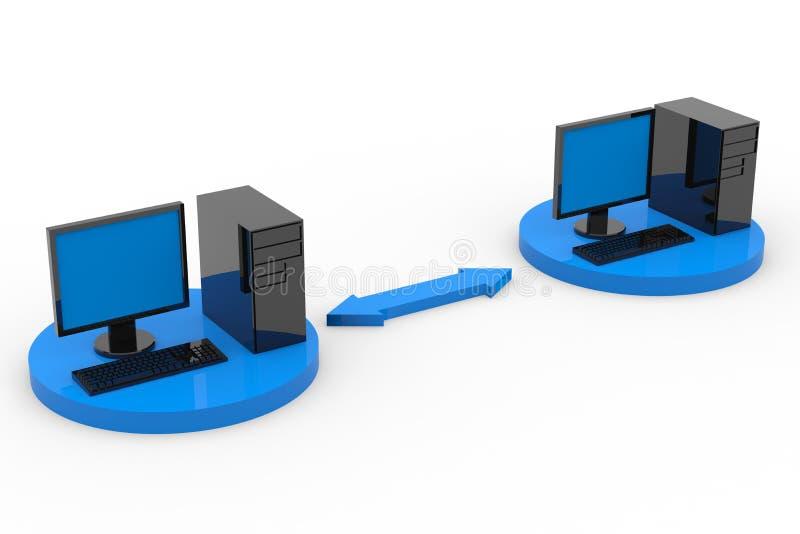 Dois computadores conectados. ilustração do vetor