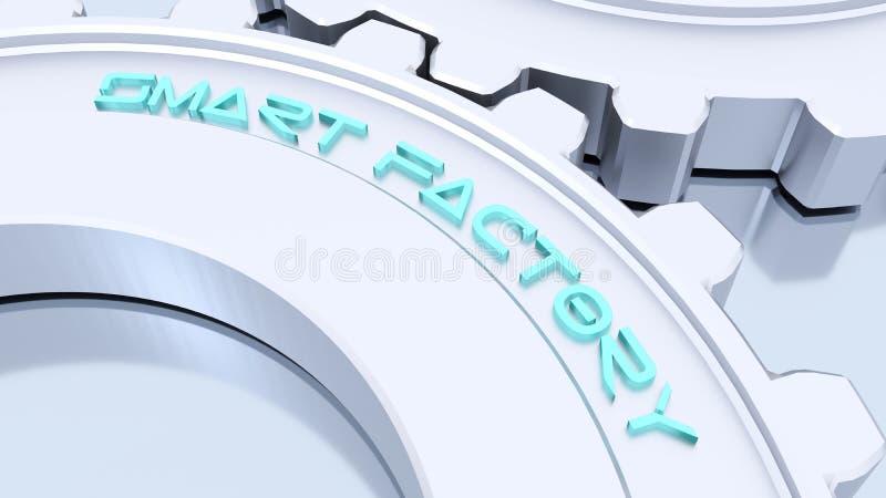 Dois conceito esperto da indústria 4 da fábrica das engrenagens de prata do metal ilustração stock