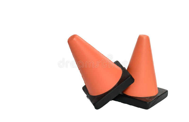 Dois cones da segurança imagem de stock