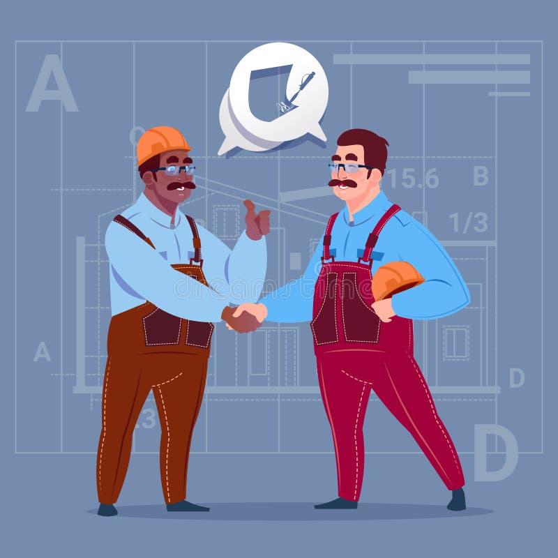 Dois construtores da raça da mistura que agitam a cooperação do trabalhador do homem de negócio dos desenhos animados do conceito ilustração do vetor