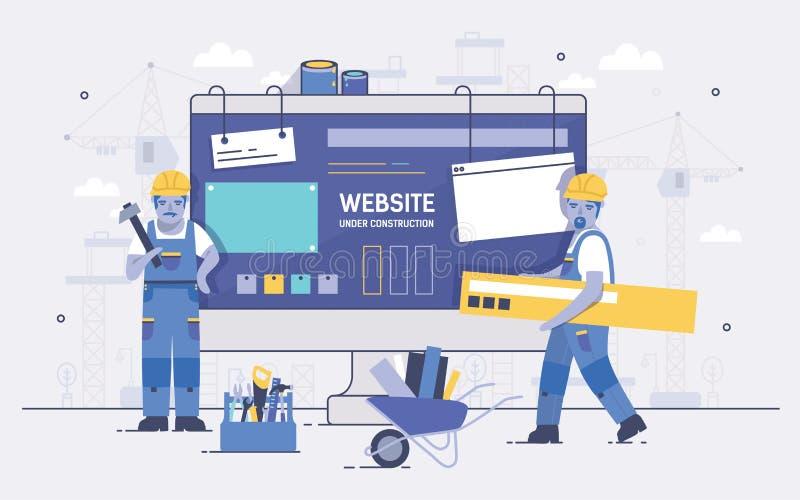 Dois construtores dos desenhos animados que mantêm e que levam ferramentas do reparo contra o tela de computador no fundo Conceit ilustração royalty free