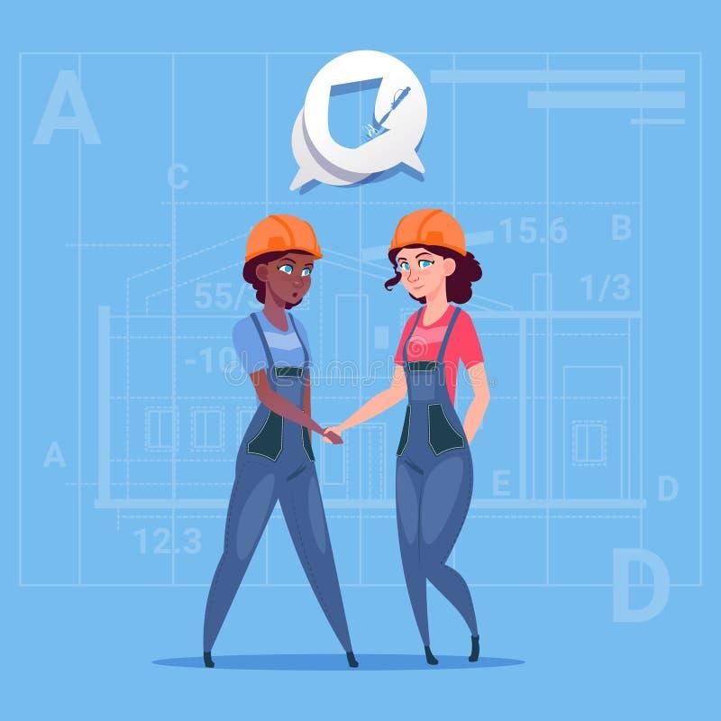 Dois construtores fêmeas da raça da mistura que agitam a cooperação das mulheres de negócio dos desenhos animados do conceito do  ilustração royalty free